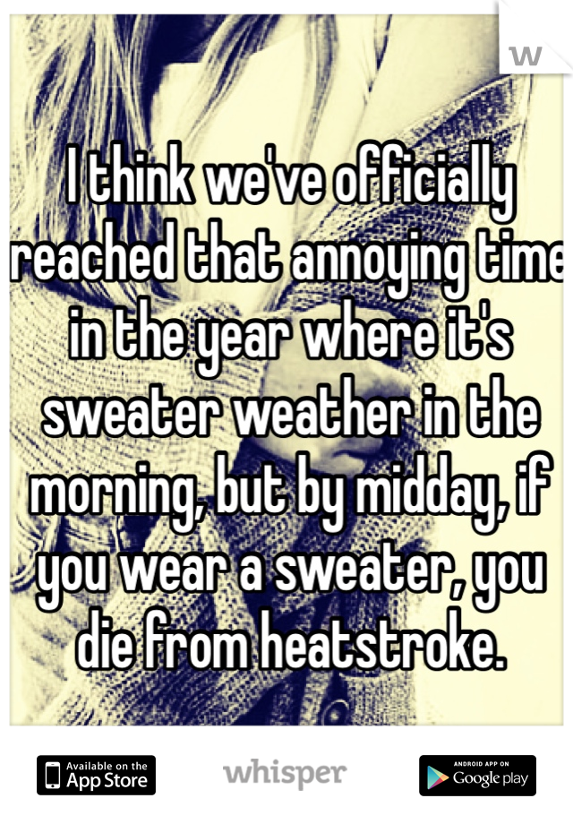 I think we've officially reached that annoying time in the year where it's sweater weather in the morning, but by midday, if you wear a sweater, you die from heatstroke.