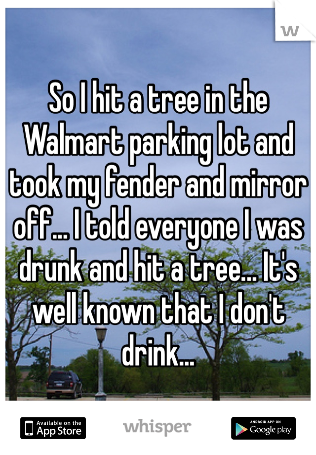 So I hit a tree in the Walmart parking lot and took my fender and mirror off... I told everyone I was drunk and hit a tree... It's well known that I don't drink...