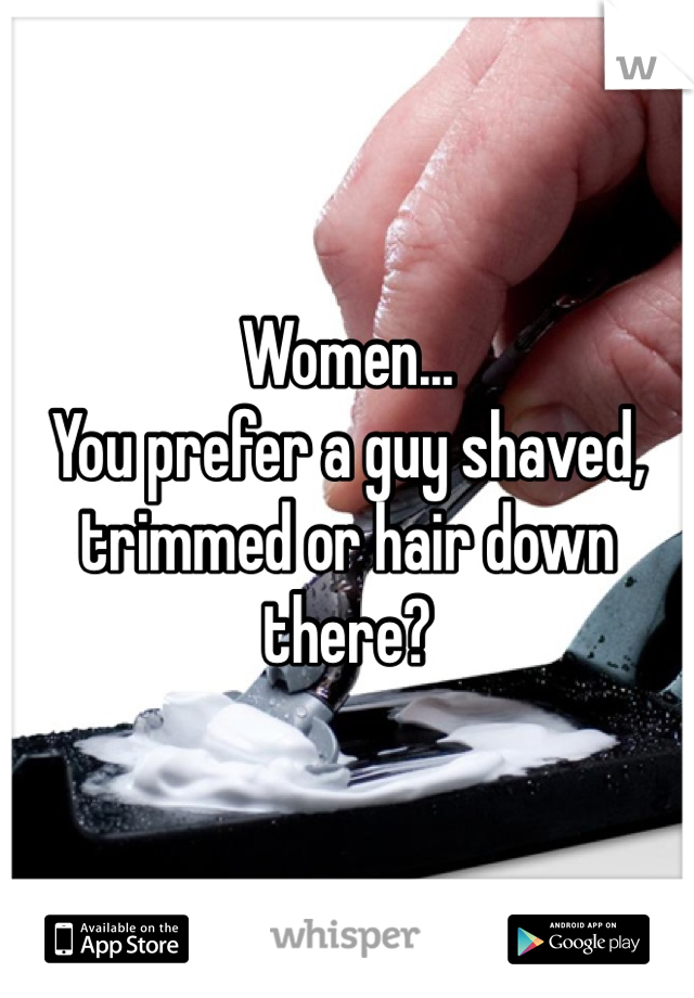 Women... You prefer a guy shaved, trimmed or hair down there?