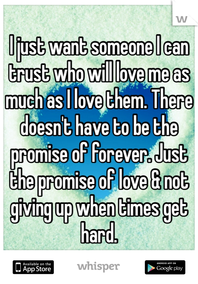 I just want someone I can trust who will love me as much as I love them. There doesn't have to be the promise of forever. Just the promise of love & not giving up when times get hard.