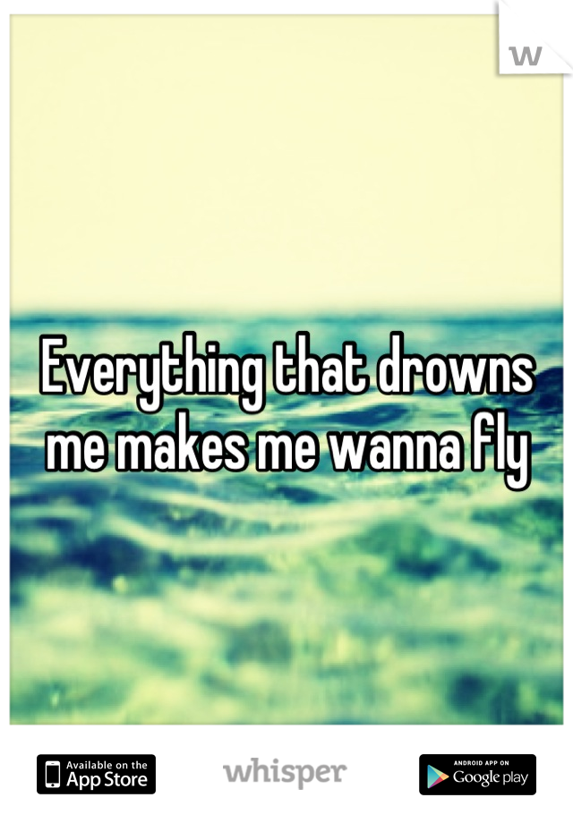 Everything that drowns me makes me wanna fly