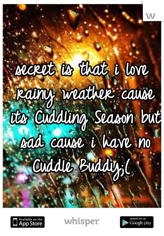 secret is that i love rainy weather cause its Cuddling Season but sad cause i have no Cuddle Buddy;(