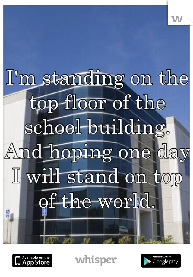 I'm standing on the top floor of the school building.  And hoping one day I will stand on top of the world.