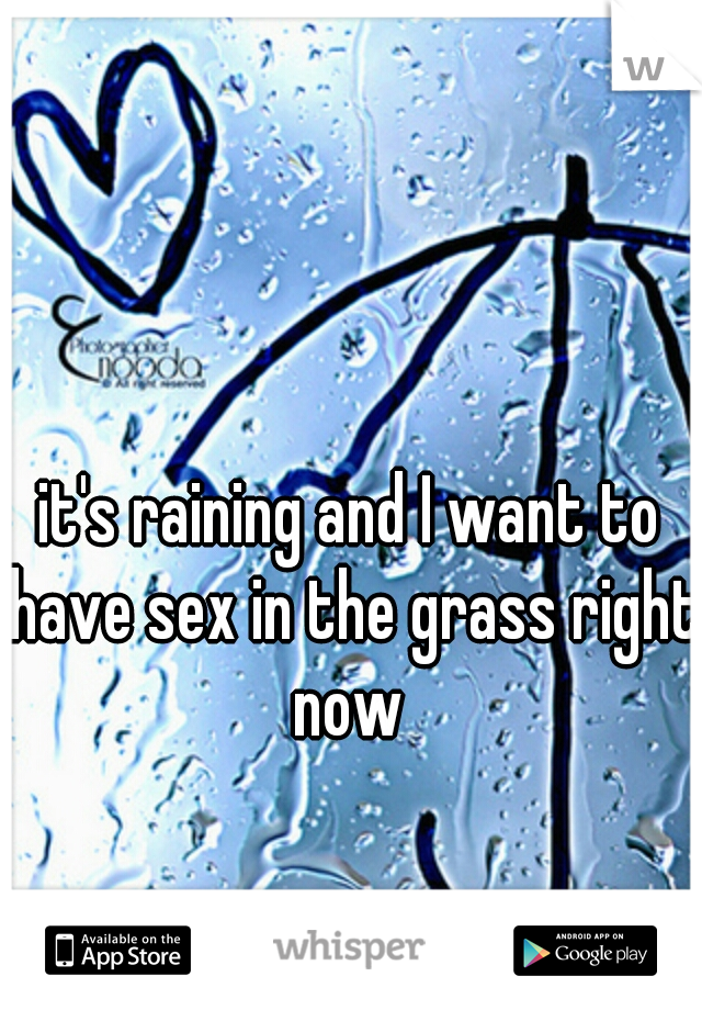 it's raining and I want to have sex in the grass right now