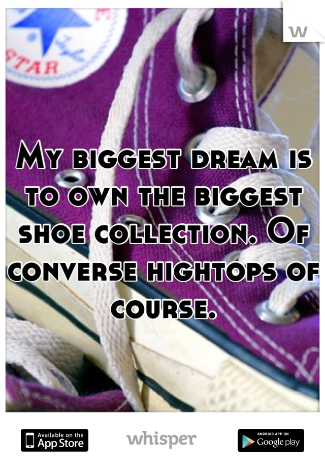My biggest dream is to own the biggest shoe collection. Of converse hightops of course.