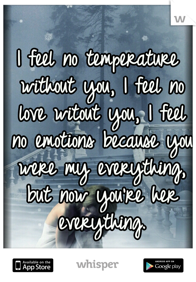 I feel no temperature without you, I feel no love witout you, I feel no emotions because you were my everything, but now you're her everything.