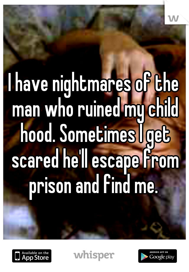 I have nightmares of the man who ruined my child hood. Sometimes I get scared he'll escape from prison and find me.