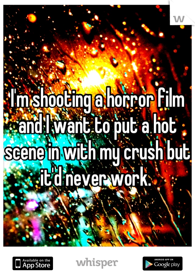 I'm shooting a horror film and I want to put a hot scene in with my crush but it'd never work.
