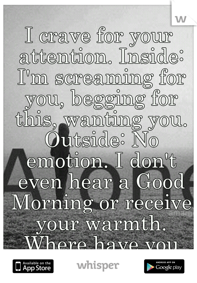 I crave for your attention. Inside: I'm screaming for you, begging for this, wanting you. Outside: No emotion. I don't even hear a Good Morning or receive your warmth. Where have you gone?