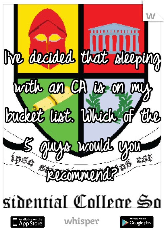 I've decided that sleeping with an CA is on my bucket list. Which of the 5 guys would you recommend?