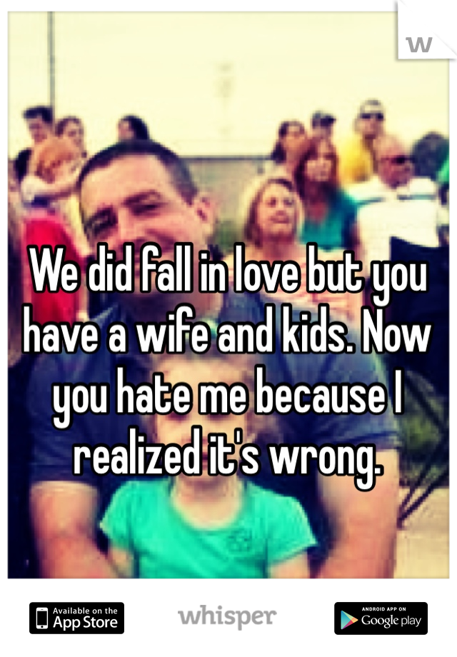 We did fall in love but you have a wife and kids. Now you hate me because I realized it's wrong.