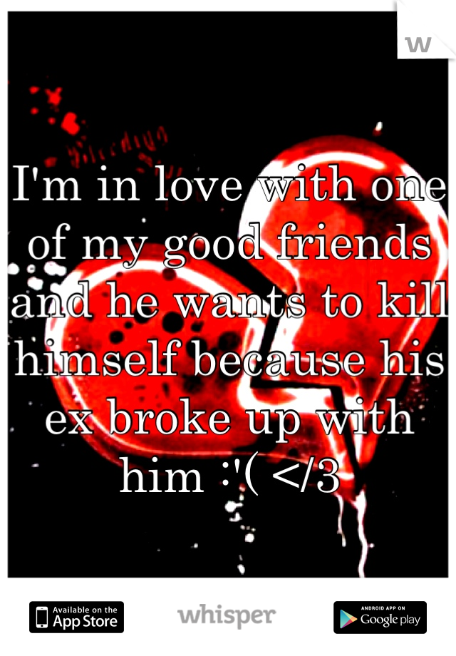 I'm in love with one of my good friends and he wants to kill himself because his ex broke up with him :'( </3