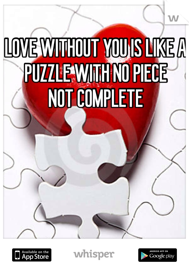 LOVE WITHOUT YOU IS LIKE A PUZZLE WITH NO PIECE NOT COMPLETE