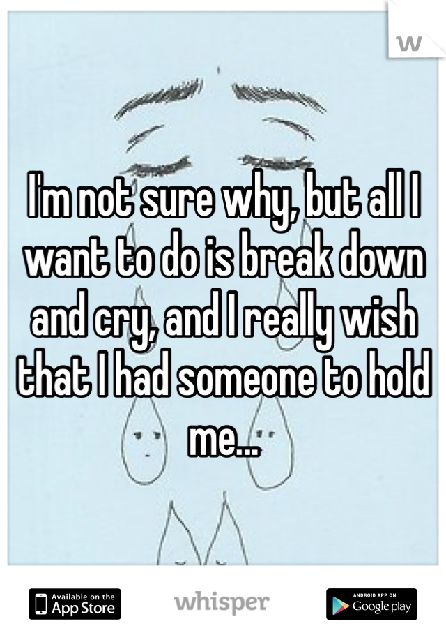 I'm not sure why, but all I want to do is break down and cry, and I really wish that I had someone to hold me...