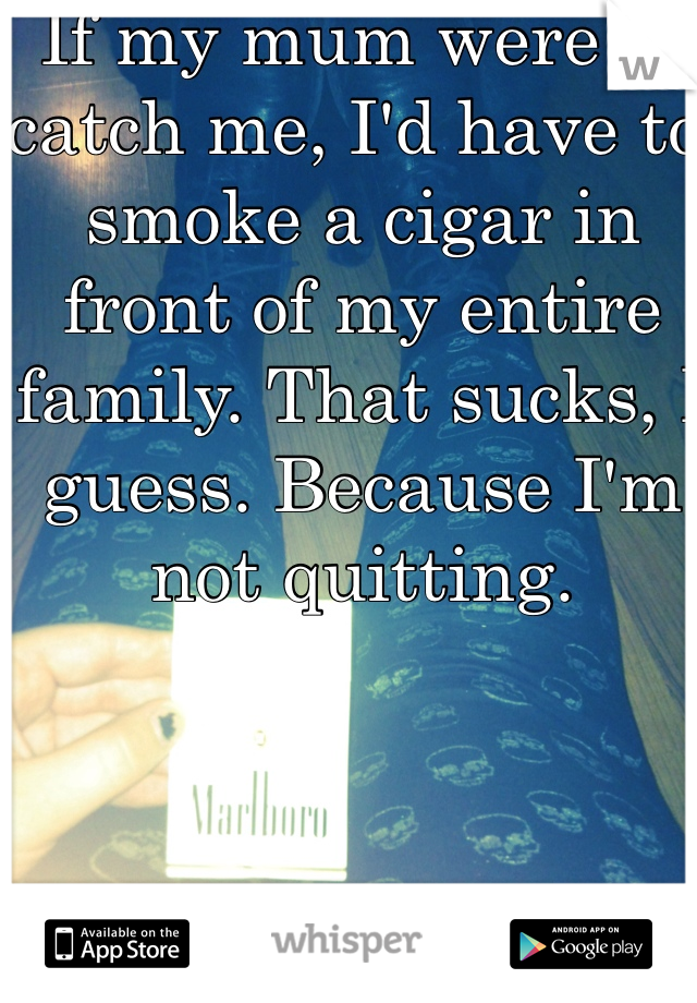 If my mum were to catch me, I'd have to smoke a cigar in front of my entire family. That sucks, I guess. Because I'm not quitting.