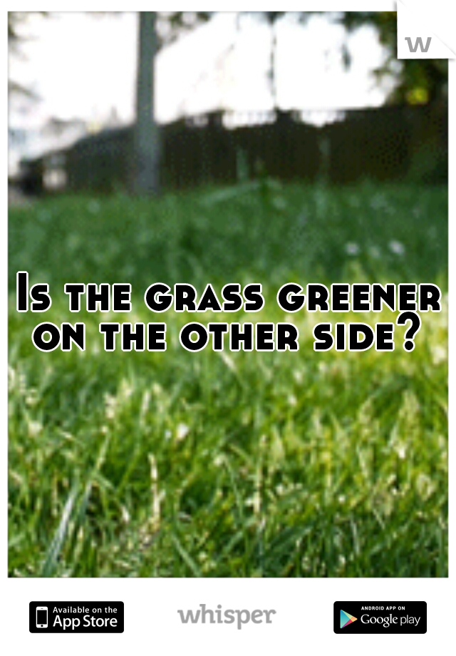 Is the grass greener on the other side?
