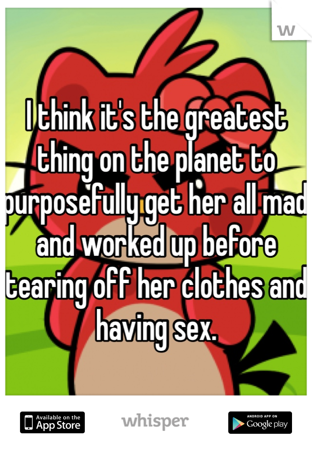 I think it's the greatest thing on the planet to purposefully get her all mad and worked up before tearing off her clothes and having sex.