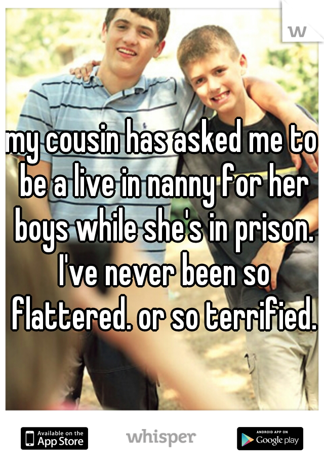 my cousin has asked me to be a live in nanny for her boys while she's in prison. I've never been so flattered. or so terrified.