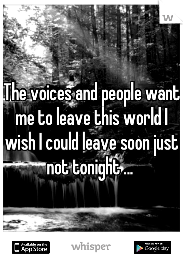 The voices and people want me to leave this world I wish I could leave soon just not tonight ...