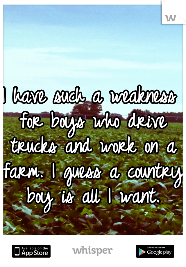 I have such a weakness for boys who drive trucks and work on a farm. I guess a country boy is all I want.