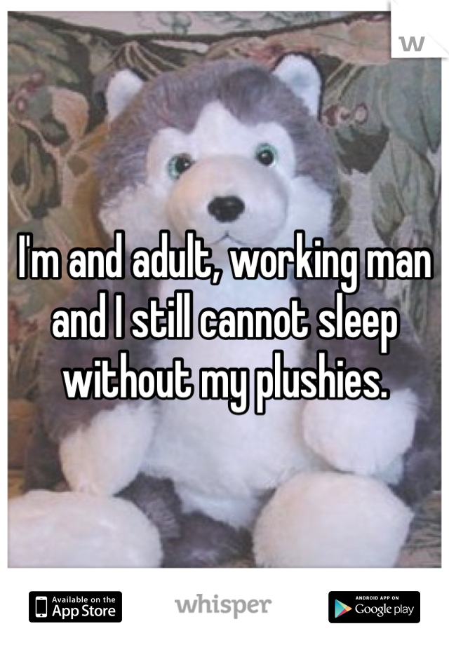 I'm and adult, working man and I still cannot sleep without my plushies.
