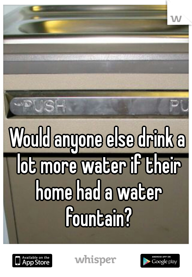Would anyone else drink a lot more water if their home had a water fountain?