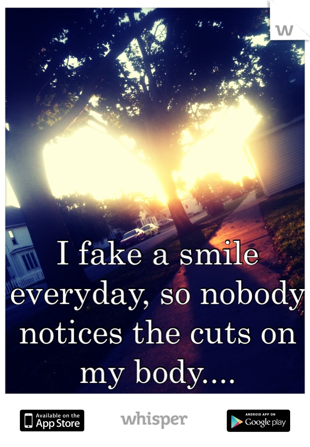I fake a smile everyday, so nobody notices the cuts on my body....