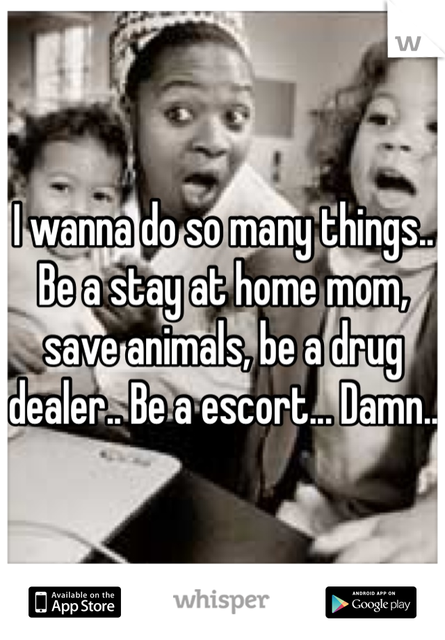 I wanna do so many things.. Be a stay at home mom, save animals, be a drug dealer.. Be a escort... Damn..