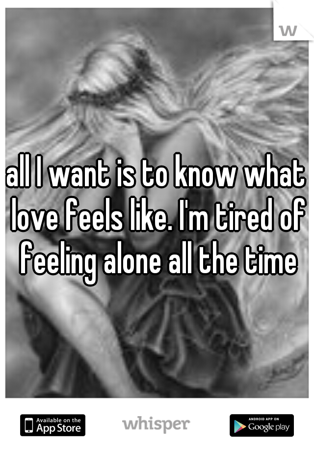 all I want is to know what love feels like. I'm tired of feeling alone all the time