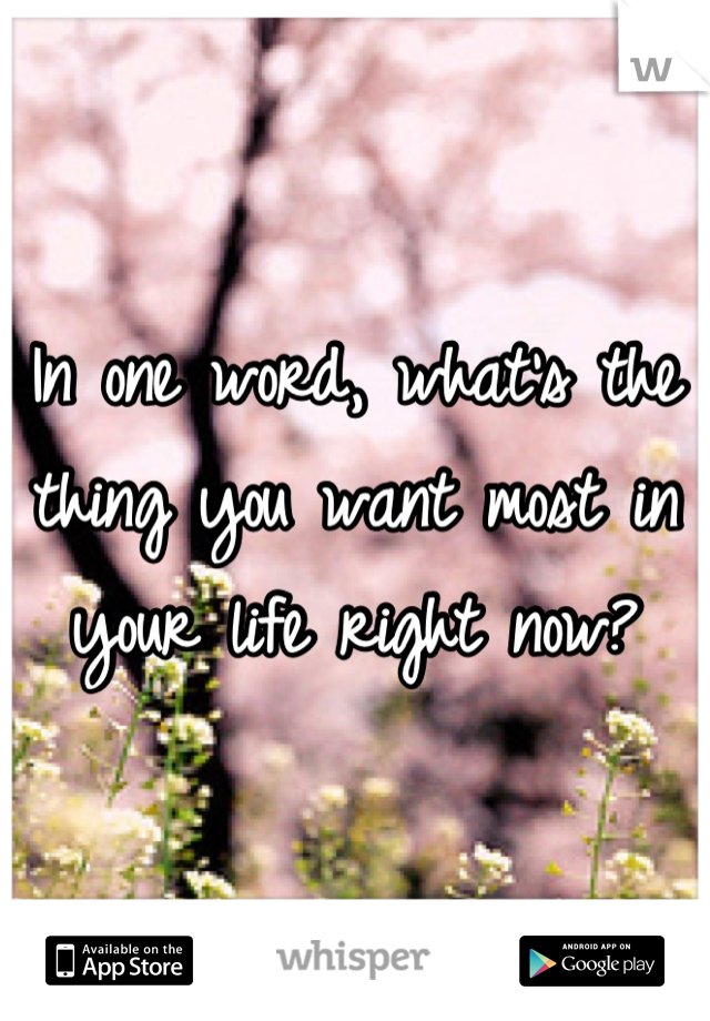 In one word, what's the thing you want most in your life right now?
