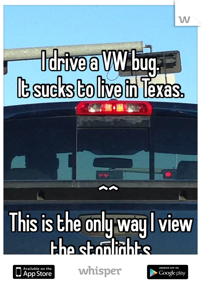 I drive a VW bug. It sucks to live in Texas.        ^^ This is the only way I view the stoplights
