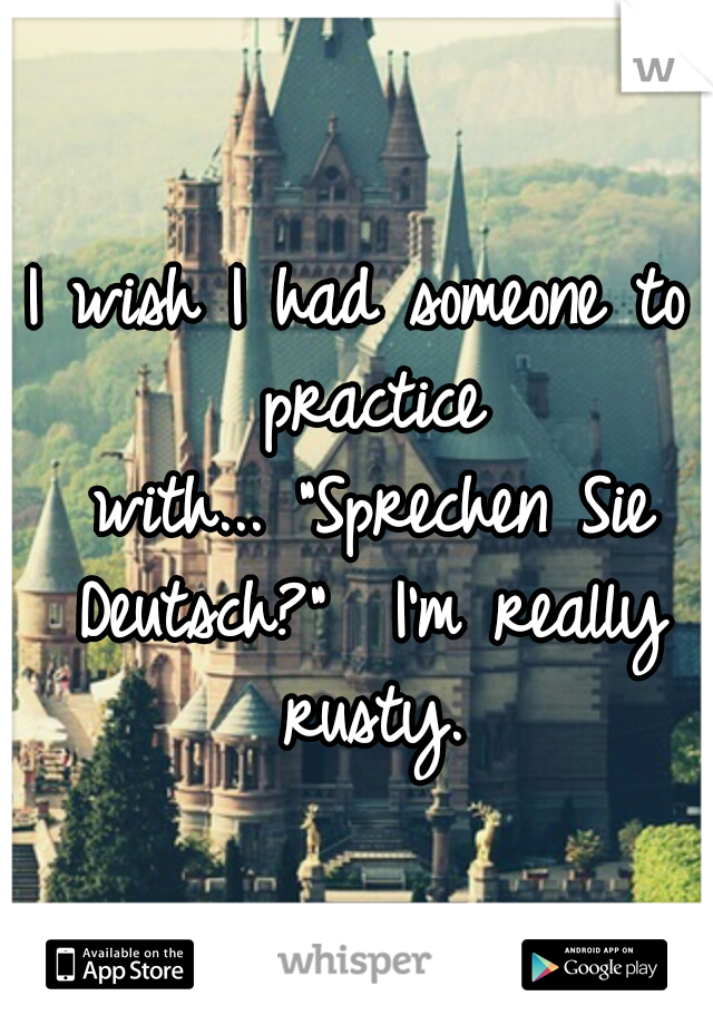 "I wish I had someone to practice with... ""Sprechen Sie Deutsch?""  I'm really rusty."