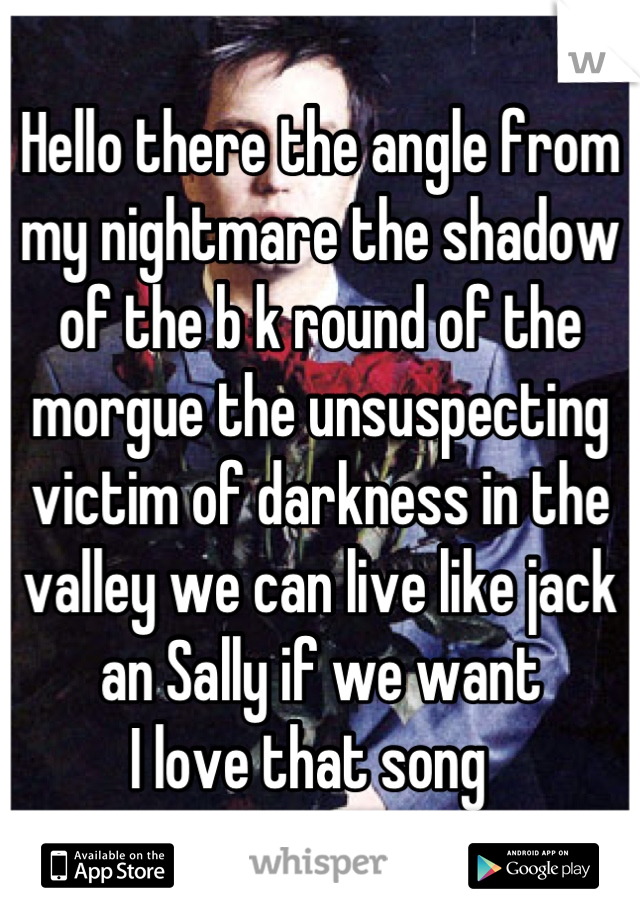 Hello there the angle from my nightmare the shadow of the b k round of the morgue the unsuspecting victim of darkness in the valley we can live like jack an Sally if we want I love that song