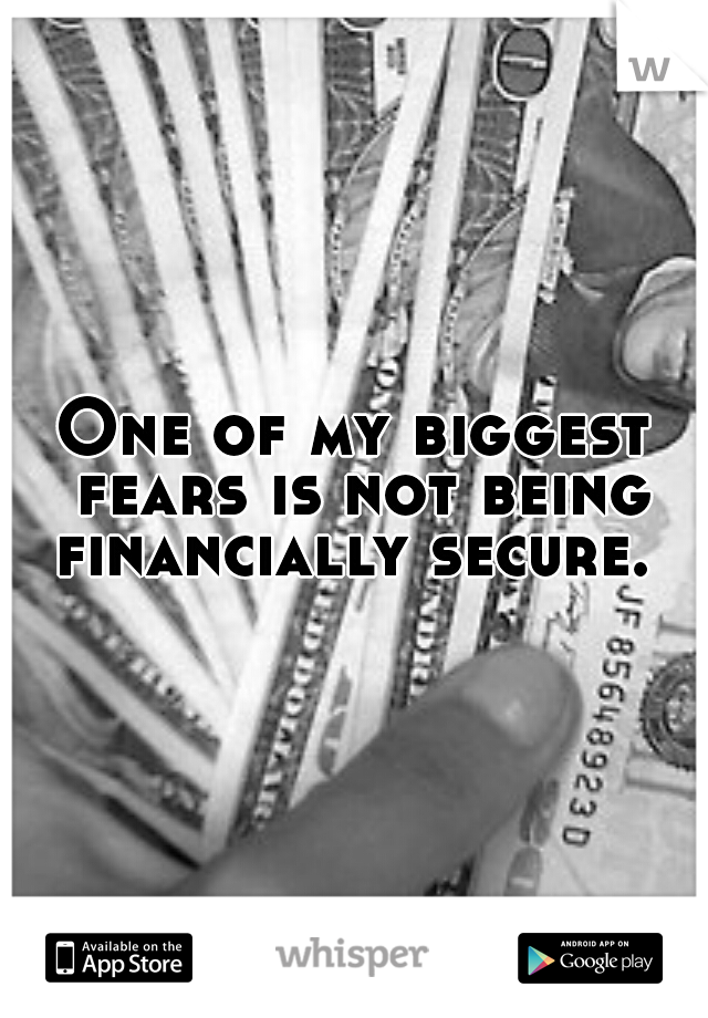 One of my biggest fears is not being financially secure.