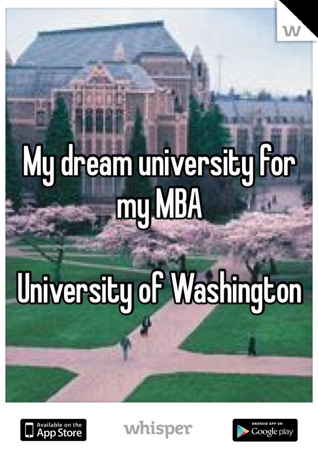 My dream university for my MBA   University of Washington