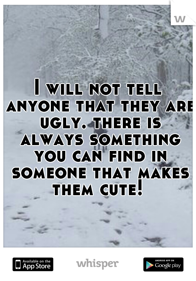 I will not tell anyone that they are ugly. there is always something you can find in someone that makes them cute!