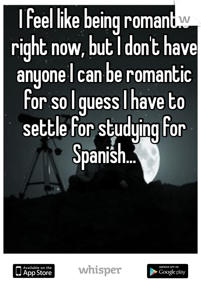 I feel like being romantic right now, but I don't have anyone I can be romantic for so I guess I have to settle for studying for Spanish...