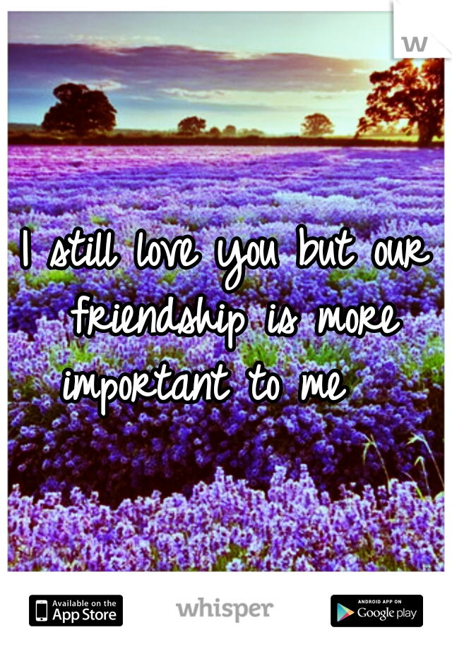 I still love you but our friendship is more important to me