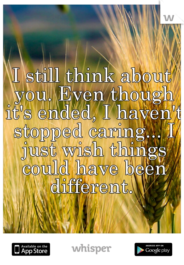 I still think about you. Even though it's ended, I haven't stopped caring... I just wish things could have been different.