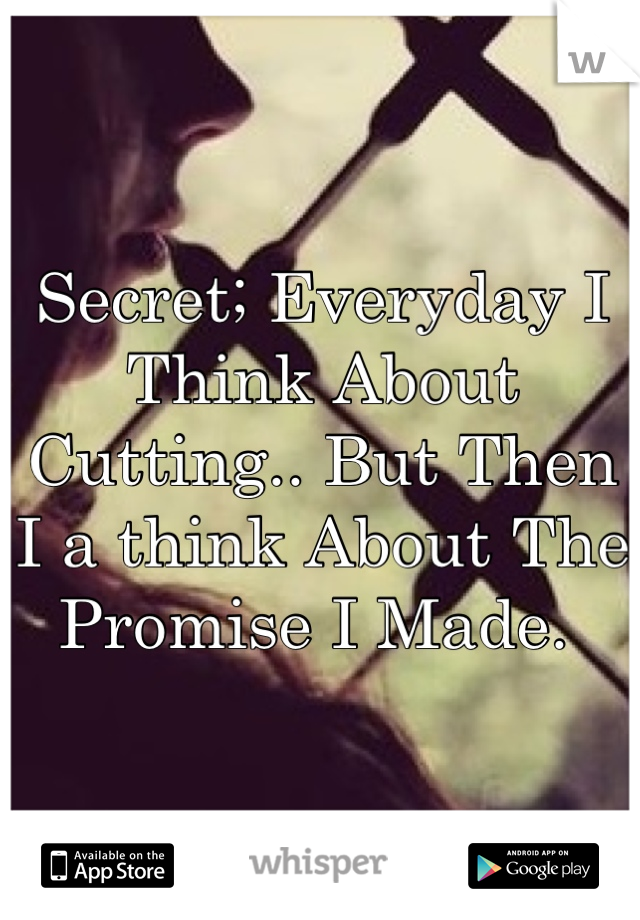 Secret; Everyday I Think About Cutting.. But Then I a think About The Promise I Made.