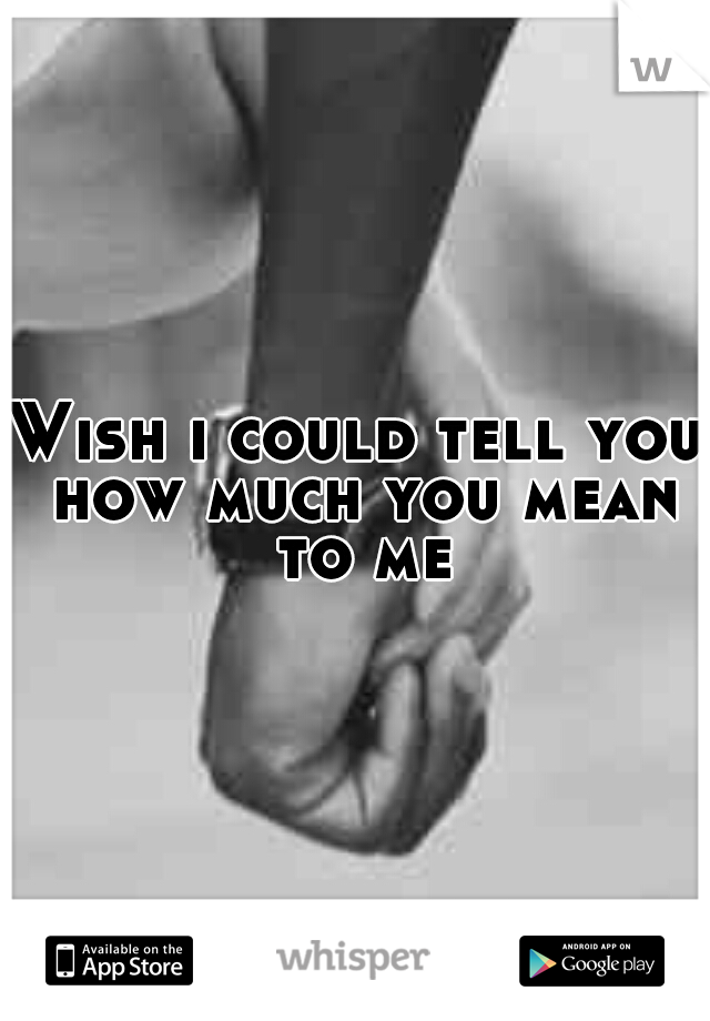 Wish i could tell you how much you mean to me
