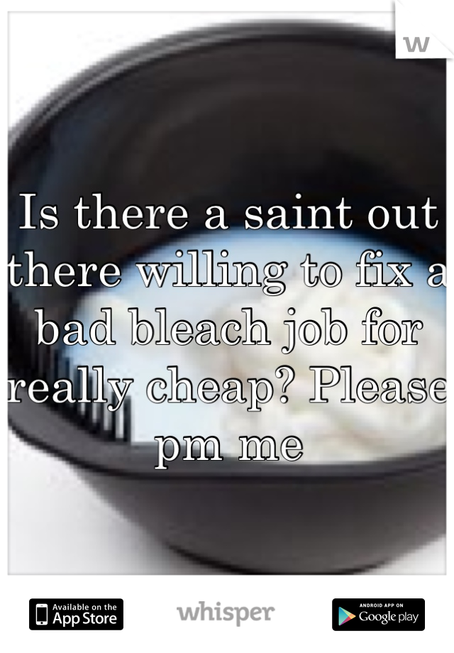 Is there a saint out there willing to fix a bad bleach job for really cheap? Please pm me