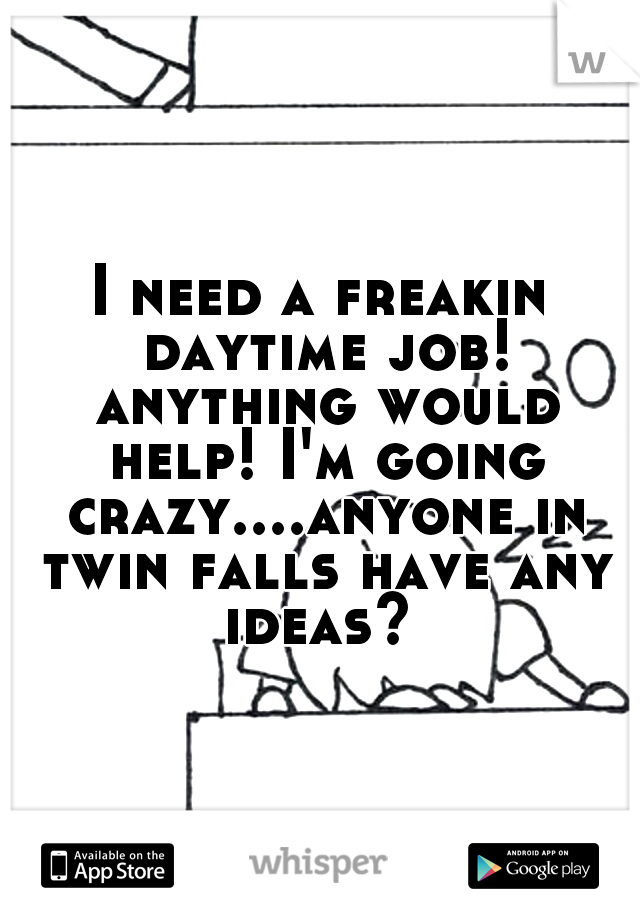 I need a freakin daytime job! anything would help! I'm going crazy....anyone in twin falls have any ideas?