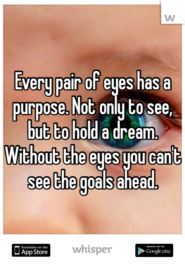 Every pair of eyes has a purpose. Not only to see, but to hold a dream. Without the eyes you can't see the goals ahead.