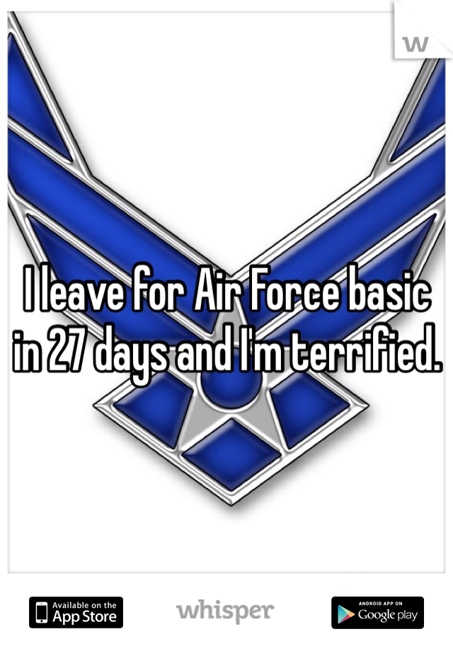 I leave for Air Force basic in 27 days and I'm terrified.