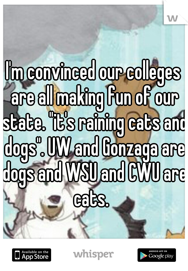 """I'm convinced our colleges are all making fun of our state. """"it's raining cats and dogs"""". UW and Gonzaga are dogs and WSU and CWU are cats."""
