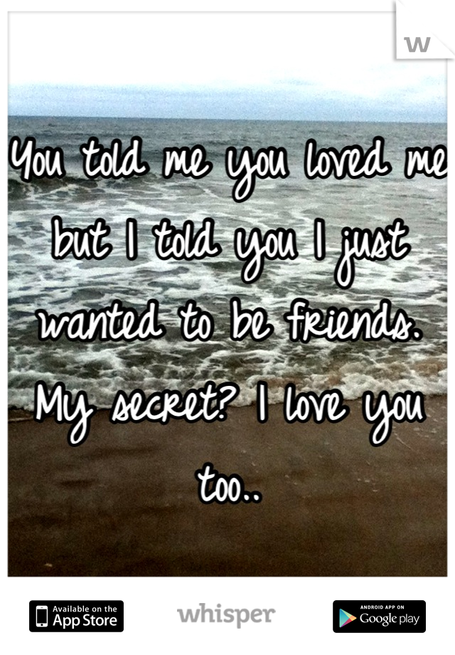 You told me you loved me but I told you I just wanted to be friends.  My secret? I love you too..