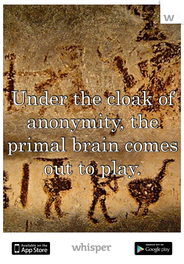 Under the cloak of anonymity, the primal brain comes out to play.