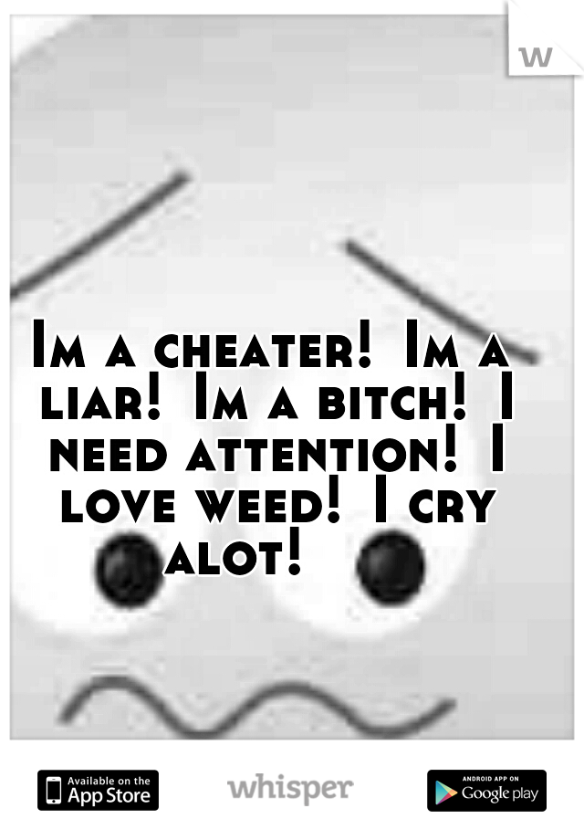 Im a cheater! Im a liar! Im a bitch! I need attention! I love weed! I cry alot!