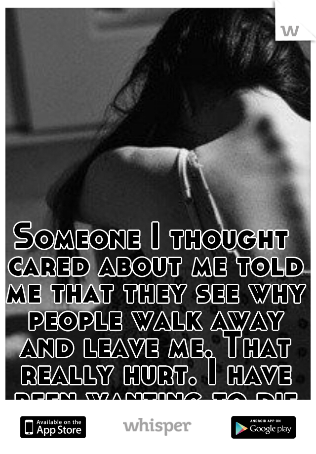 Someone I thought cared about me told me that they see why people walk away and leave me. That really hurt. I have been wanting to die since.